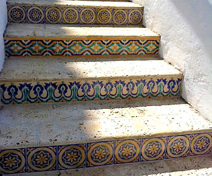 The Everglades Club - Restored tile stair risers